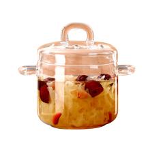 闪闪优品燕窝炖盅家用高硼硅玻璃炖盅厨房隔水炖罐汤盅带盖小炖盅 小号350ml 18731