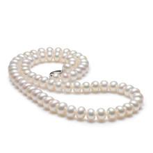 京润珍珠 聚 灵心 10-11mm46cm 四面光扁圆白色淡水珍珠项链全珠链正品