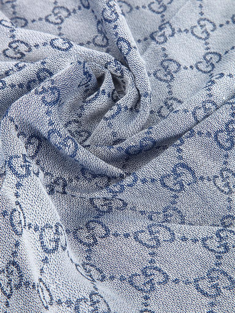 gucci古琦蓝色纯棉材质logo图案儿童围巾 [蓝色 94*95