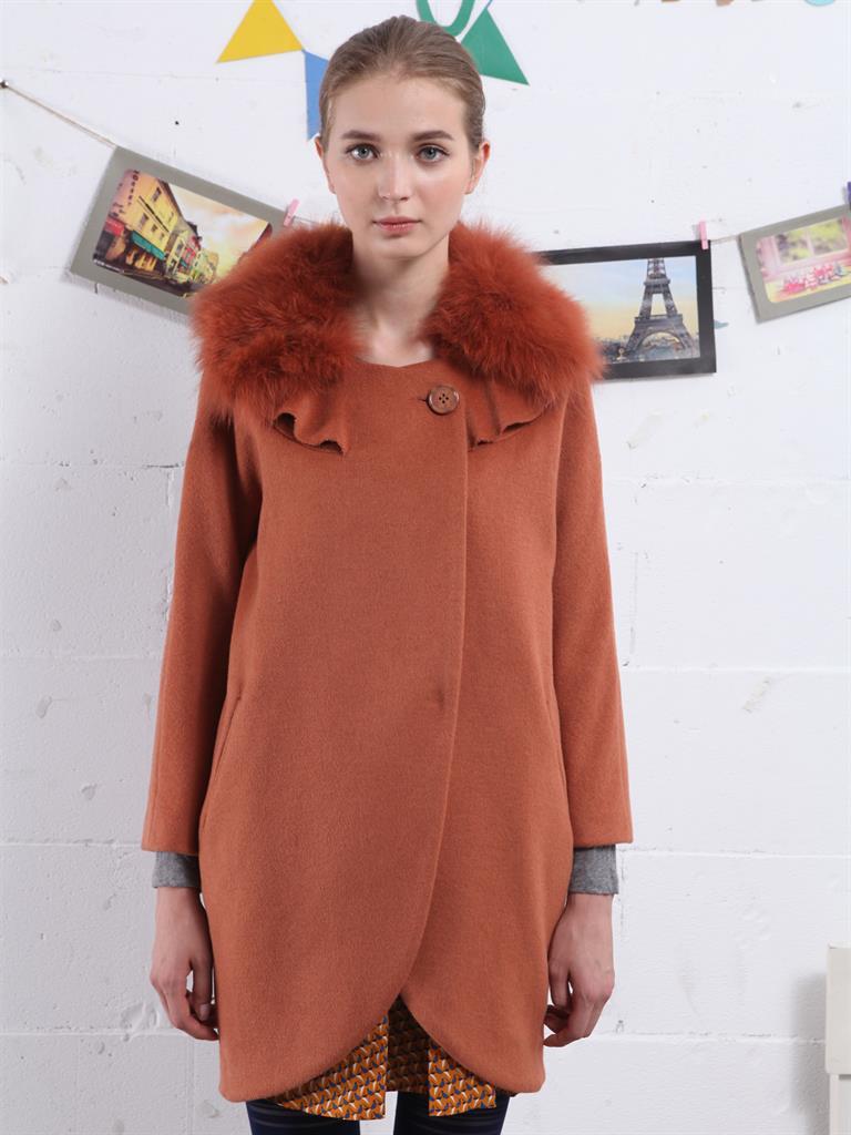 古木夕羊砖红色荷叶领茧型大衣c337629[砖红色
