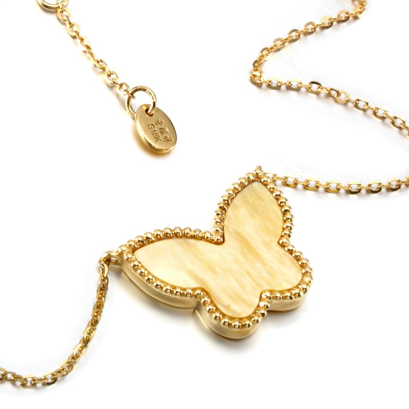 18k金黄金贝壳蝴蝶项链