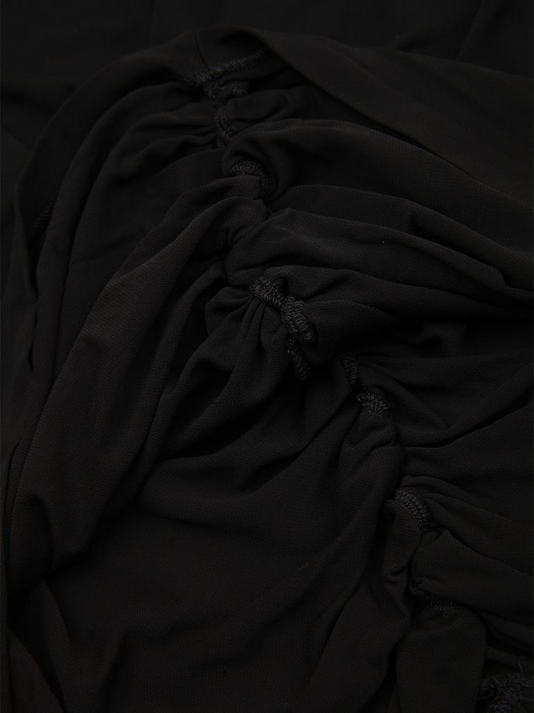 麦昆黑色粘纤纤维材质纯色堆领女士七分袖上衣[黑色