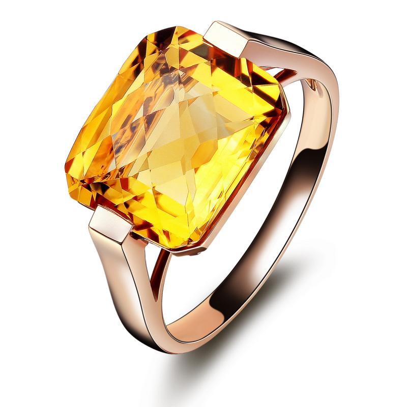 珂兰钻石 10k金纯天然黄水晶宝石 时尚彩宝女戒指 可定制 klrw027038
