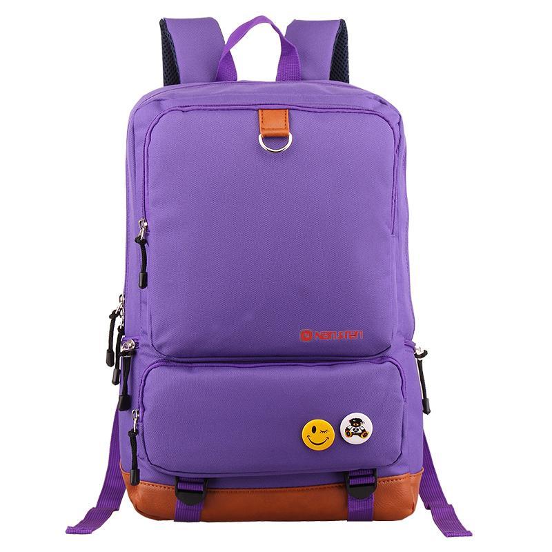 南极人 中学生书包 休闲时尚品牌 双肩 旅游 电脑 户外背包 [紫色款]图片