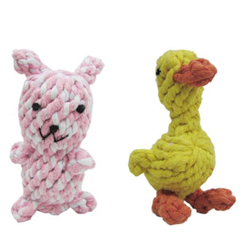 憨憨乐园宠物玩具狗狗咬绳猫玩具逗猫棒逗狗玩具颜色随 [可爱动物棉绳