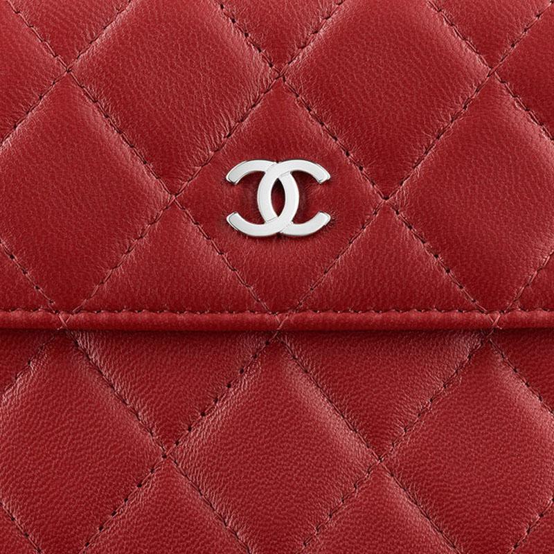 香奈儿 chanel 经典系列 红色小羊皮菱格纹女士小号双层钱包 a48980 y