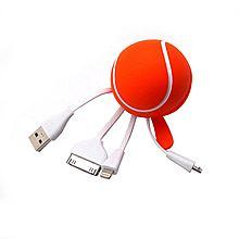 斯巴瑞 多功能创意手机网球数据线 SR-008[白色/橙色-SR-008]
