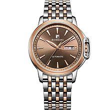罗西尼 手表 雅尊商务系列 钢带双历 50M防水 自动机械男士手表7633系列 [咖啡色]