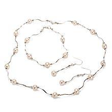 惟忆 素缕 天然淡水珍珠 925银镶嵌套装(项链、手链、耳钉)一套 附证书 20250461 [白色]