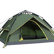 徽羚羊 户外帐篷自动帐篷 3-4人双层防雨液压自动速开帐篷 户外野营帐篷 [防雨款军绿色三用]