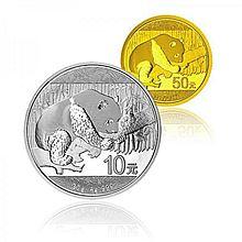 中国金币 2016年熊猫金银币3克金+30克银币纪念币 [套装]
