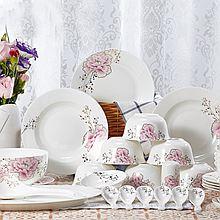 民商智惠 有谷窑 经典玫瑰36头8人份骨瓷餐具 [经典玫瑰36头8人份骨瓷餐具]