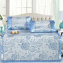 民商智惠 CLOVERLOVE优质提花冰丝凉席 1.5米床 三件套 爱的旅途 三色可选 [蓝色]