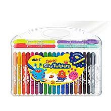 AMOS 旋转可水洗丝滑蜡笔/粉彩/水彩三合一儿童绘画工具 [24色细杆]