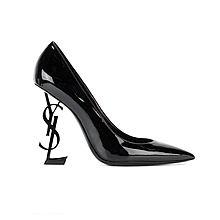 Saint Laurent 字母跟Monogram尖头高跟鞋472011D6CVV 472011D6CVV[黑色38]