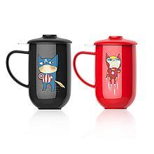 台湾Artiart超级英雄杯带茶漏500ml 红色钢铁侠/黑色美国队长