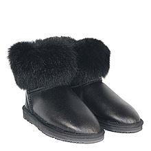 Burlee Australia 澳洲美利奴羊皮负鼠毛外翻雪地短靴 女士靴子 BFOXYMINISL-NB [黑色 39]