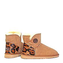 Burlee Australia 澳洲美利奴羊皮豹纹拼接纽扣雪地靴 女士靴子 BBBMDL-C [驼色 37]