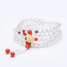 金恩珠宝 天然白水晶手链四圈镶石榴石红玛瑙仿珊瑚首饰 [天然白水晶手链四圈]