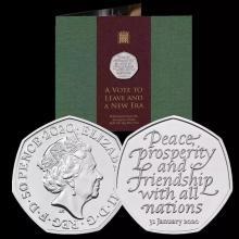 天中金 2020年英国脱欧纪念币.英国皇家造币厂铸造 [单枚卡册]