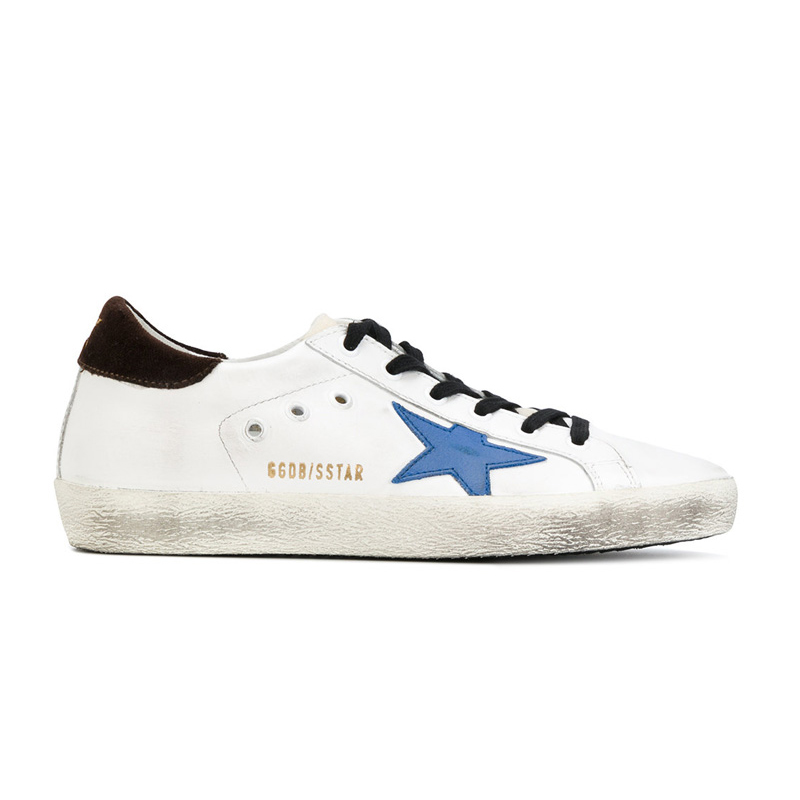 GOLDEN GOOSE 【香港直邮】女士五角星图案系带休闲鞋 G31WS590-C80-BLUESTAR[白色/蓝色/黑色 39]