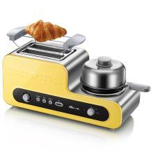 小熊Bear ZDQ-D05B5 黄色煮蛋器 蒸蛋器 家用不锈钢烤面包机2片早餐机三合一 [黄色 ]