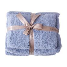 太湖雪 强力速干毛浴巾套装 六色可选 赠沐浴球 [浅蓝]