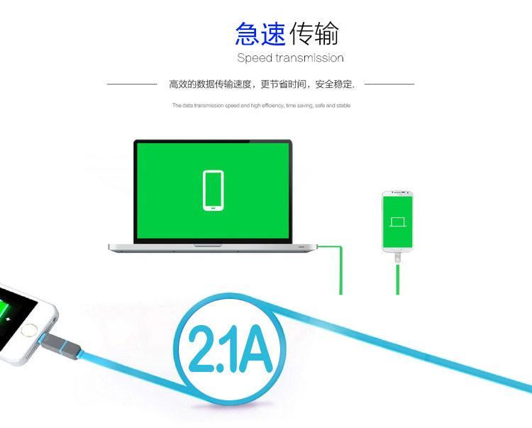 其他品牌 水草人手机加长安卓苹果二合一usb数据线充电线适用于苹果5