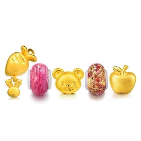 0厘米 足金串珠:萝卜兔串珠(款号:85426p),小熊串珠(款号:85392p)
