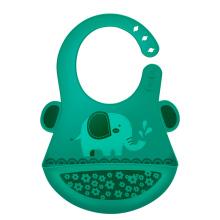 MillyMally 全硅胶围兜围嘴饭兜 宝宝吃饭口水巾 防水防油婴儿罩衣 长颈鹿 橄榄黄 MM3101